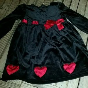 Dollie & Me black velvet dress (4) with red ribbon